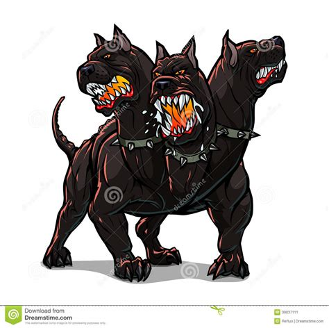 Mythological Dog Cerberus Vector Illustration In Cartoon Style | cerberus stock vector image 39037111