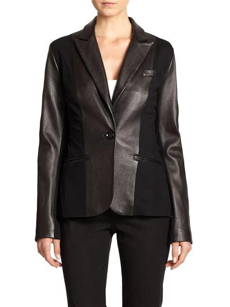 black ponte knit blazer saks fifth avenue black leather ponte knit blazer in black