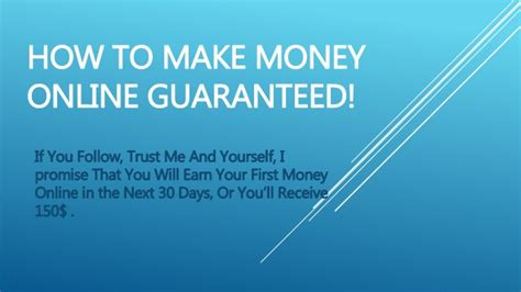 Make Money Online Guaranteed - how to make money online guaranteed