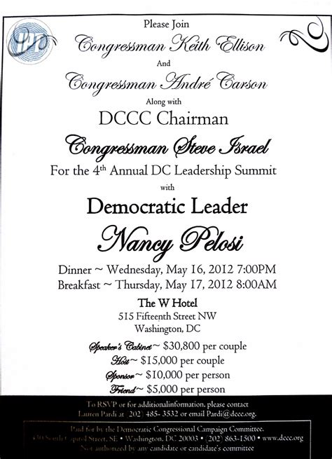 charity dinner invitation letter pelosi holds secret fundraiser with islamists hamas