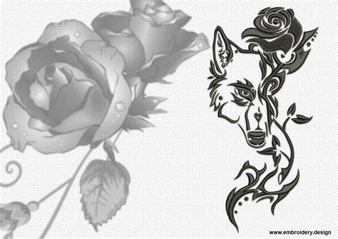 wolf with rose tattoo tribal wolves embroidery designs pack collection of 9