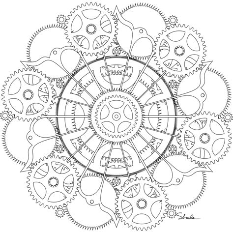 printable clock gears free coloring pages of steunk gears