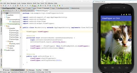 view on android tutorial viewflipper on click in android studio