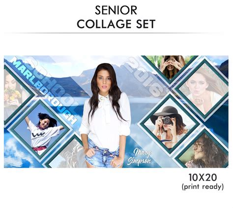 senior photo collage templates senior collage photoshop template