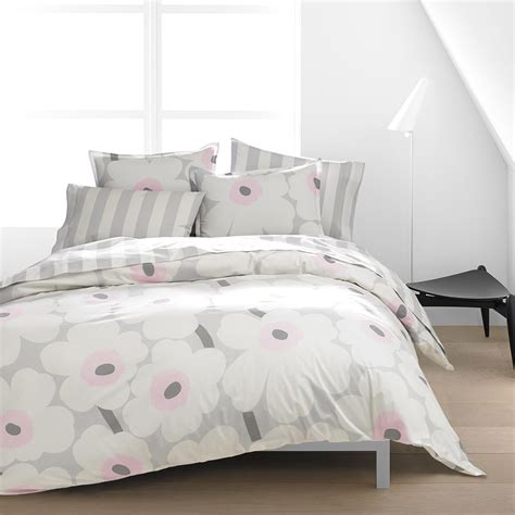 Grey Linen Bedding Marimekko Unikko Grey Pink Duvet Cover Set King