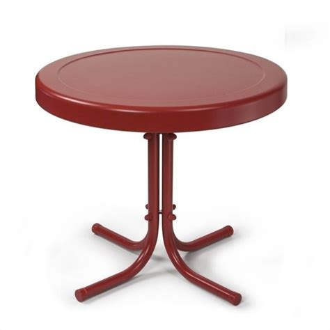coral table l crosley retro metal table in coral co1011a re