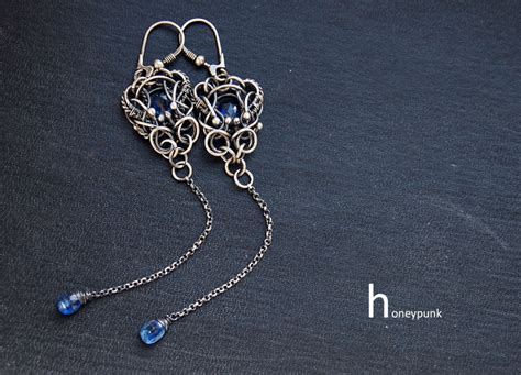 earrings with wire earrings wire wrapped with kyanite by honeypunk on deviantart