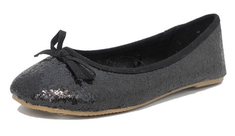 glitter flat shoes uk black sparkly glitter ballerina ballet pumps
