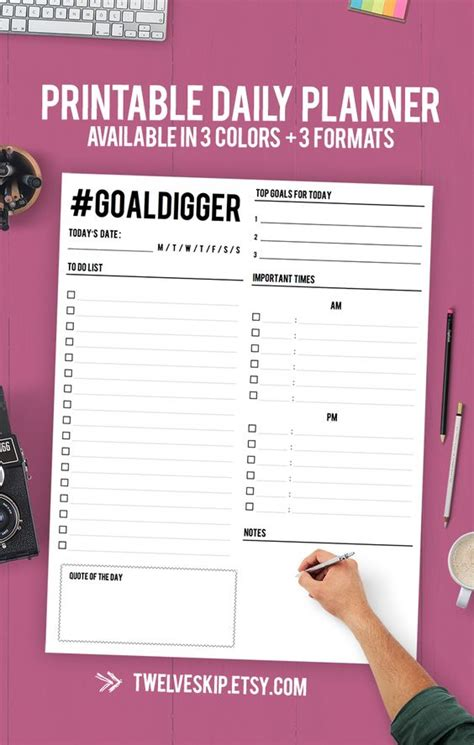 printable goal journal daily planner printable daily planner binder daily