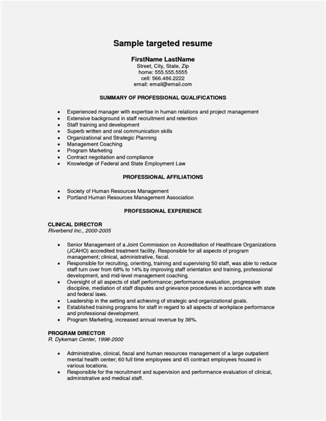 targeted resume exles exles of targeted resumes resume template cover letter