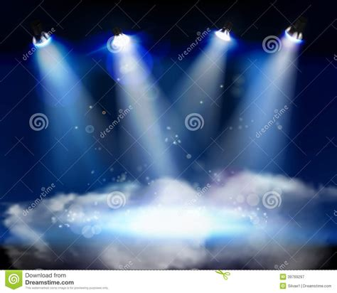 Beam Decoration Smoke On The Stage Vector Illustration Stock Vector