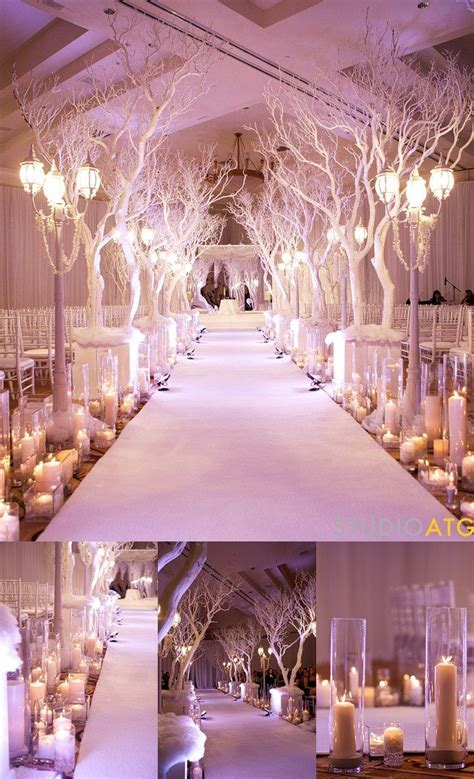 Winter theme wedding   white branches walkway