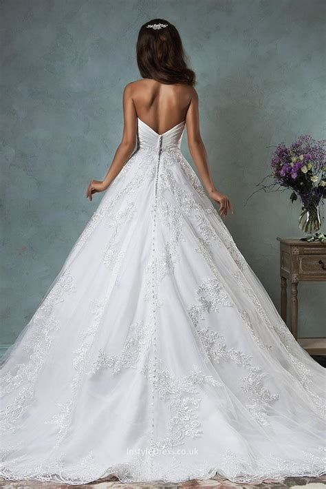 Princess Strapless Sweetheart Lace Tulle Backless Ball Gown Wedding Dress   InstyleDress.co.uk
