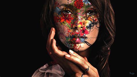 body tattoo hd wallpaper colourful face girl art hd wallpaper 2895 full hd