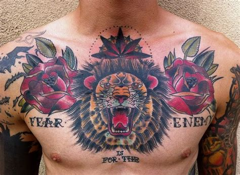 tattoo chest traditional traditional lion chest piece tattoo ideas pinterest