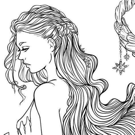 pretty hair coloring pages adult coloring page fantasy moon and stars girl line art
