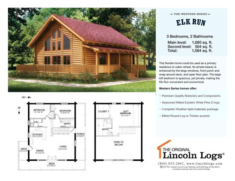 log home floorplan elk run the original lincoln logs