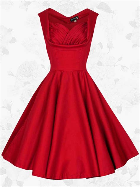 red swing dress vintage women 50s retro square neck knee length red swing party