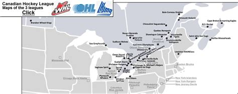 canadian hockey map canadian hockey league with all whl ohl and qmjhl teams