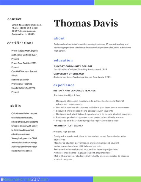 resume format for teaching profession resume template 2017 resume builder