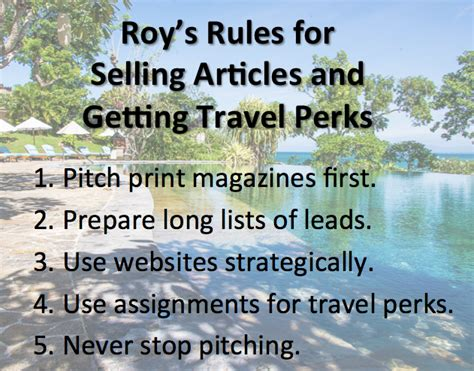 Five Rules for Selling Articles and Getting Travel Perks