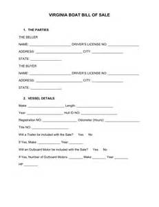 Bill Of Sale Template Virginia by Free Virginia Boat Bill Of Sale Form Word Pdf Eforms
