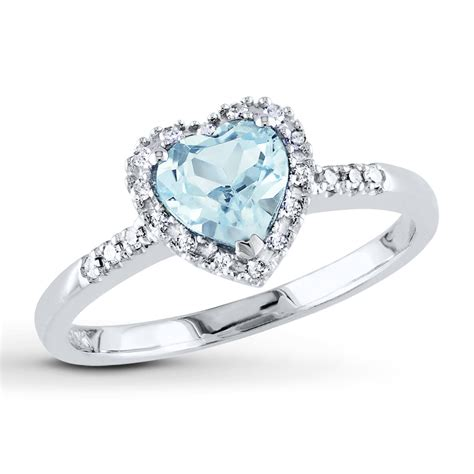 aquamarine ring 1 10 ct tw diamonds sterling
