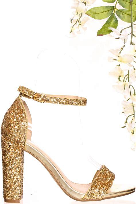 High Heels Gliter Rra Gold gold glitter open toe ankle chunky high heels