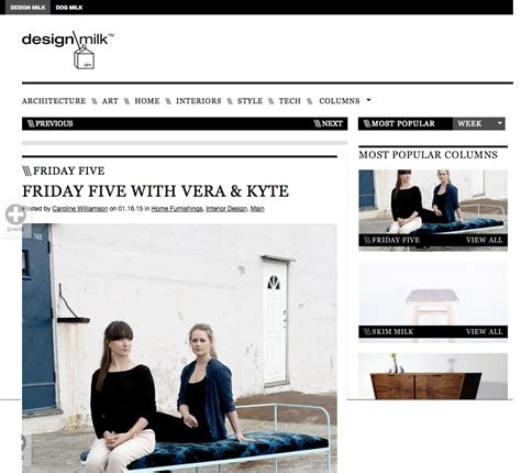 Design Milk Friday Five | design milk vera kyte