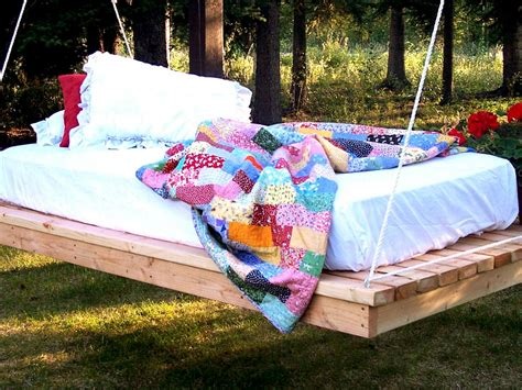 diy backyard swing easy diy hanging daybed hgtv