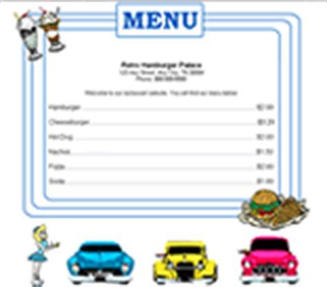 50s diner menu template 4 cooking restaurant website templates