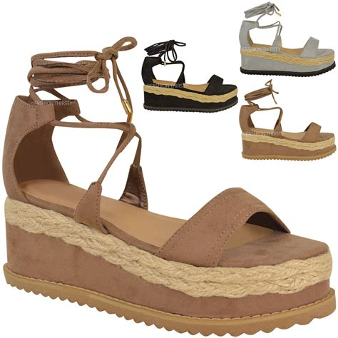 27 Coolest Platform Shoes For Summer 2009 by Womens Flat Espadrille Lace Up Sandals Wedge