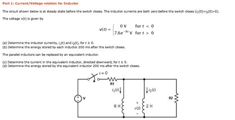 inductor questions and answers current voltage relation for inductor the circuit chegg