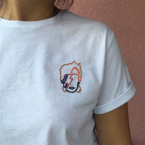 Cat Embroidery Shirt david bowie embroidered tshirt embroidery