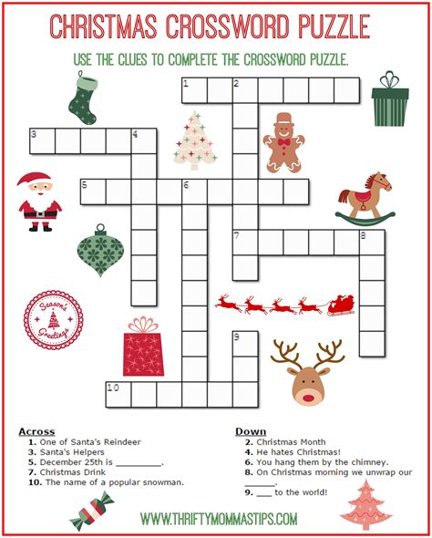 printable puzzle free christmas crossword puzzle printable thrifty momma s tips