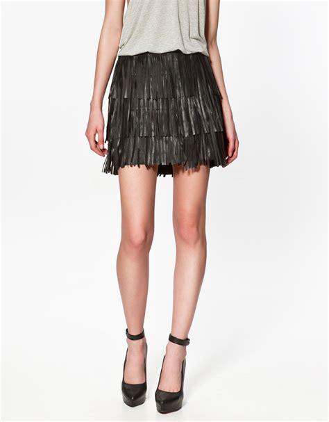 zara leather fringed skirt in black lyst