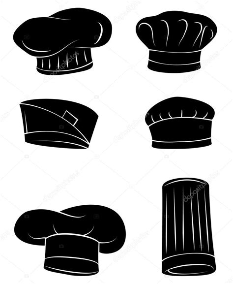 black silhouette collection of chef hat stock vector