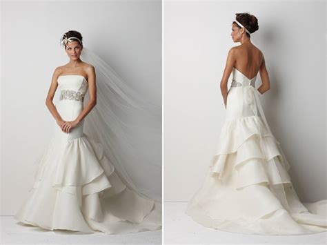 chic strapless ivory drop waist wedding dress with