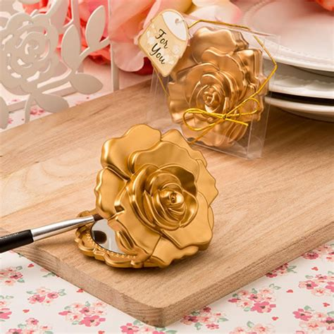 rose themed wedding favors gold rose compact mirror favors rose themed baby shower