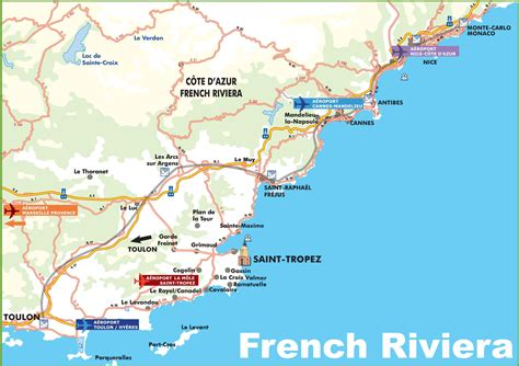 riviera map map of riviera with cities and towns