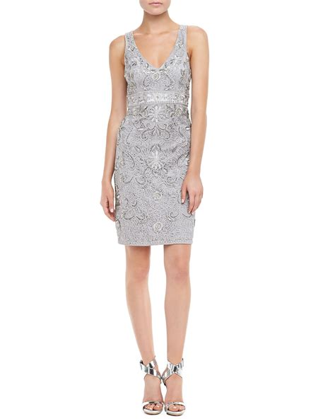 beaded cocktail dress sue wong sleeveless beaded cocktail dress in gray