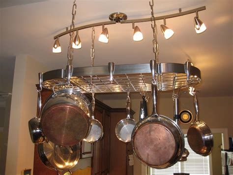 Hanging Pot And Pan Rack With Lights Best 25 Pot Rack Hanging Ideas On Hanging