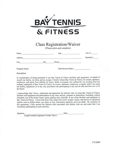 fitness waiver and release form template waivers free 253 wsource