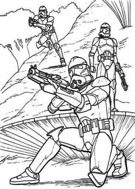 coloring pages wars clone trooper the clone troopers standby in wars coloring page