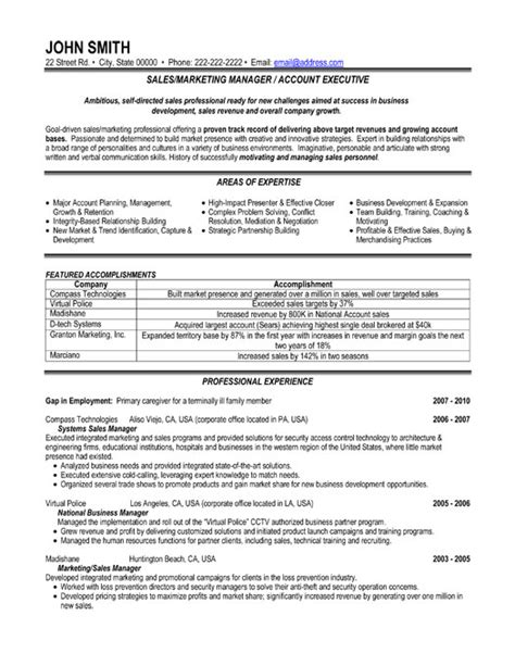 marketing executive sle resume sales or marketing manager resume template premium