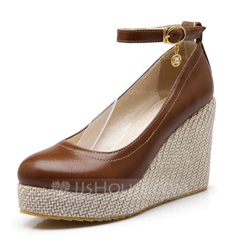 leatherette wedge heel platform closed toe wedges with