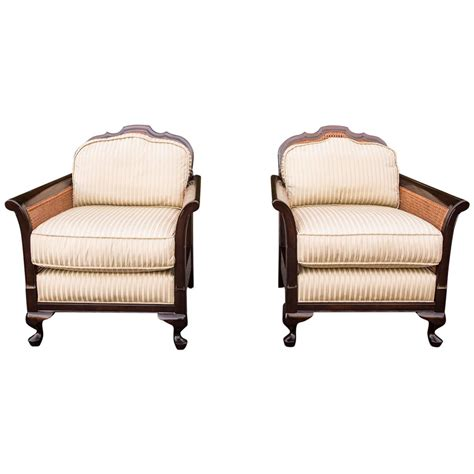 Rattan Armchairs by Pair Of Rattan And Wood Armchairs At 1stdibs
