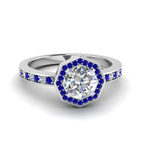 14k white gold blue sapphire halo engagement rings
