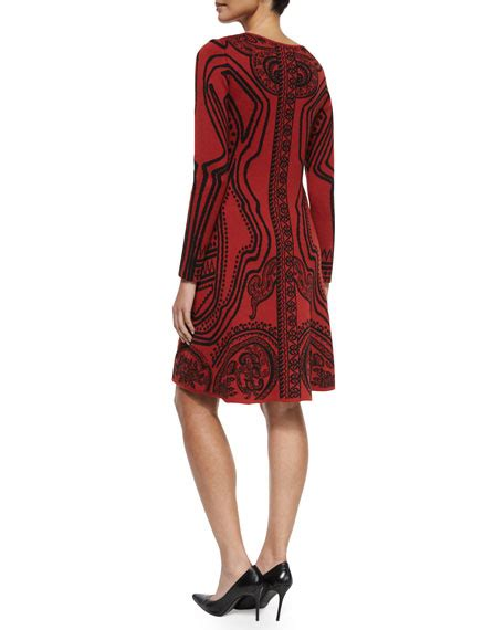 Printed Sleeve A Line Dress etro sleeve printed a line dress
