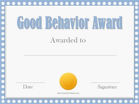 Good Behavior Award Certificates